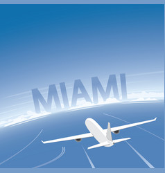 miami skyline flight destination vector image