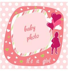 baby girl photo frame vector image vector image