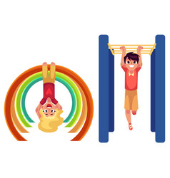 boy and girl climbing hanging on monkey bars at vector image vector image