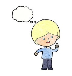 cartoon unhappy boy giving peace sign with thought vector image vector image