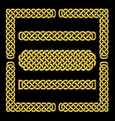 celtic knots borders and corner elements vector image