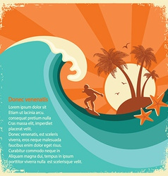 Surfer and sea big wave tropical island on old vector image