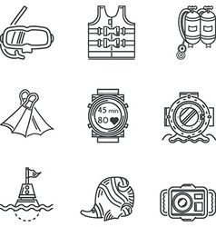 Diving black line icons vector image