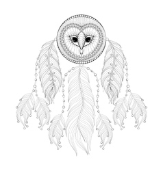 Hand drawn zentangle Dreamcatcher with tribal Owl vector image