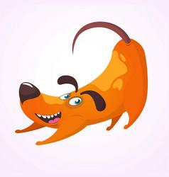 happy cartoon dog having fun and doing yoga vector image vector image