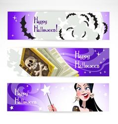 Happy halloween horizontal banner vector image vector image