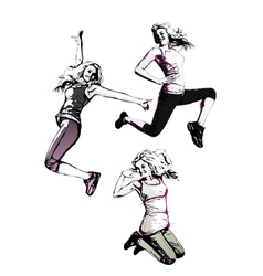 jumping women vector image
