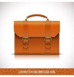 Orange color leather briefcase icon vector