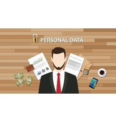 personal data lock secure with paper document vector image