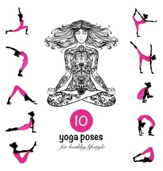 Yoga poses asanas pictograms composition poster vector image
