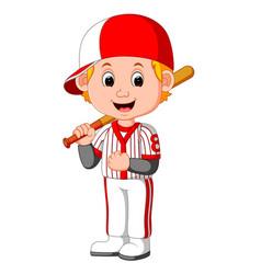 cartoon boy playing baseball vector image