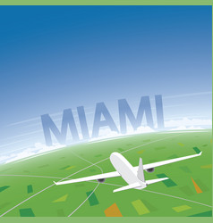 Miami flight destination vector
