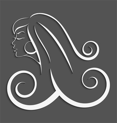 Outline girl curly hair cut out 3d vector