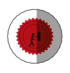 red emblem person knocking punching bag vector image