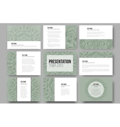 Set of 9 templates for presentation slides vector image vector image