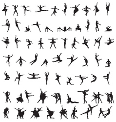 set of silhouettes of ballet dancers vector image vector image
