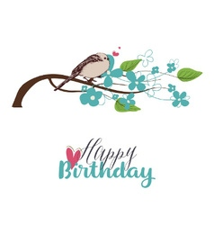 Tree branch in bloom and cute bird singing love vector image vector image