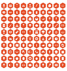100 favorite food icons hexagon orange vector image