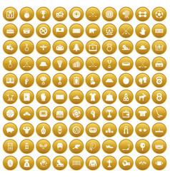 100 hockey icons set gold vector
