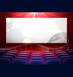 3d realistic cinema armchairs blank screen vector