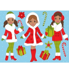African American Girls Set vector image