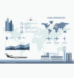 airline infographics graphs and diagram vector image