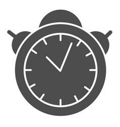 Alarm clock solid icon table watch vector