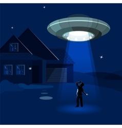 Aliens spaceship abducts man under cloud of vector