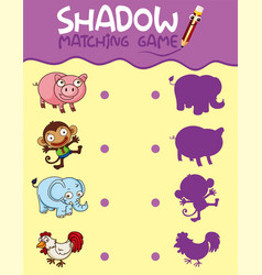 Animal shadow matching game template vector