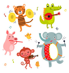Animals play musical instruments vector