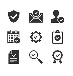 approve black glyph icons on white background vector image