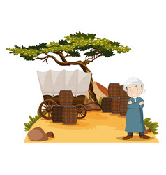 arab man stands by the wagon vector image