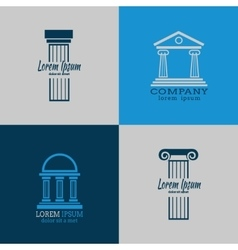 Architectural logo templates with columns vector image