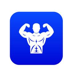 Athletic man torso icon digital blue vector