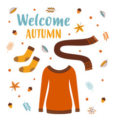 autumn greeting card with sweater vector image