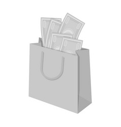 Bag with money e-commerce single icon in vector