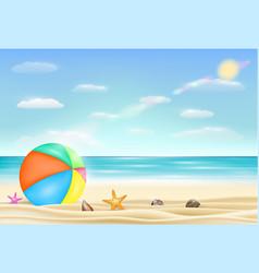 beach ball on a sea sand beach with starfish vector image