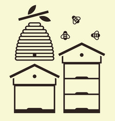 beehives and bees vector image
