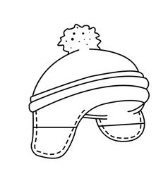 black and white woolen hat vector image