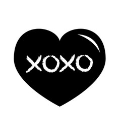 Black heart shining icon xoxo phrase sketch vector
