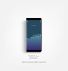 black smartphone mockup with infographic graph vector image