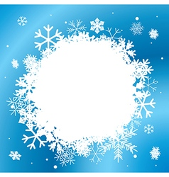 blue winter background with white snowflakes vector image