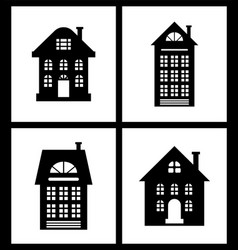 building old fashioned houses silhouettes set vector image