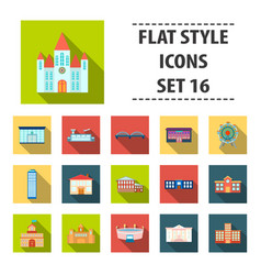 building set icons in flat style big collection vector image