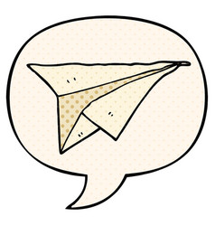Cartoon paper airplane and speech bubble in comic vector