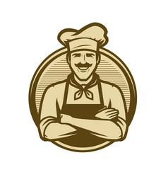 chef logo or vintage emblem cooking food concept vector image