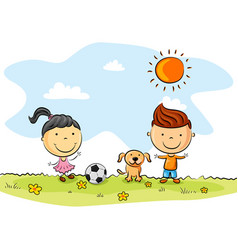 children playing soccer with a dog in the park vector image