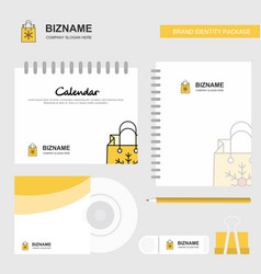 christmas shopping bag logo calendar template cd vector image