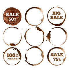 Coffee labels watercolor dirty ring stain logo vector