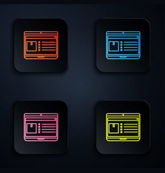 Color neon line laptop with app delivery tracking vector